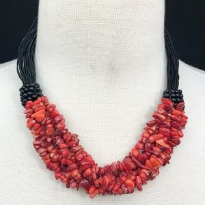 Red Coral Chip Beaded Layered Cord Necklace